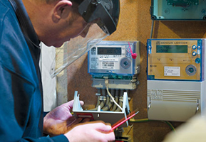 Image of smart meter being checked