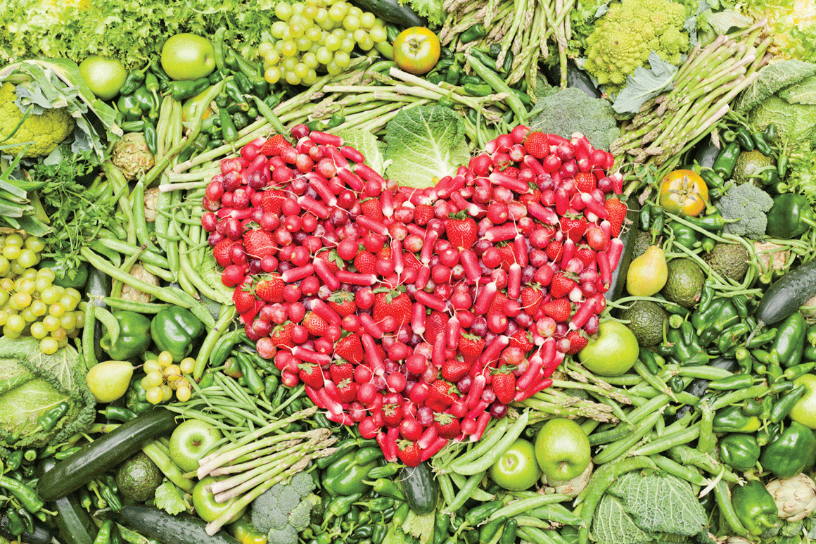 A heart made up of vegetables