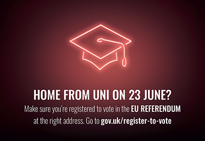 Are you home from uni on 23 June? Make sure you register at the right address