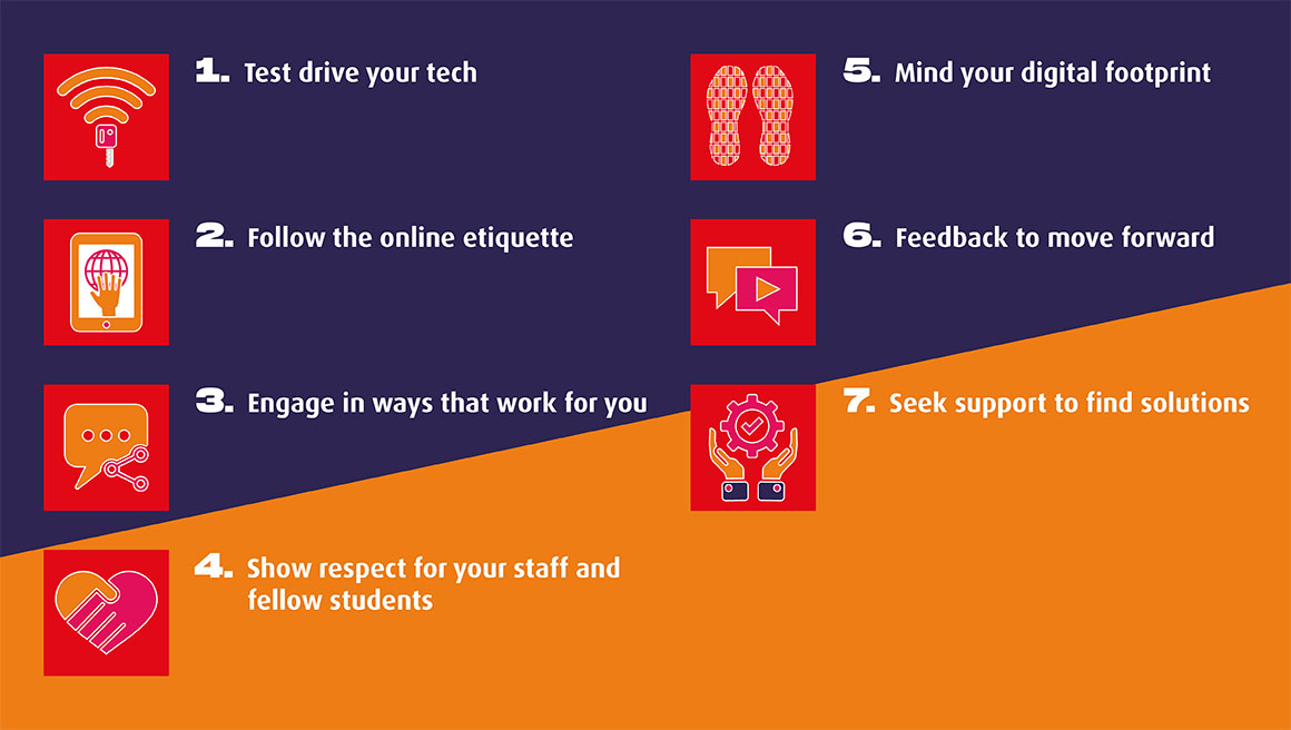 We have designed these 7 principles of online learning classroom conduct as 'steps' that are really important you take, in order to fully enjoy your time at MDX.